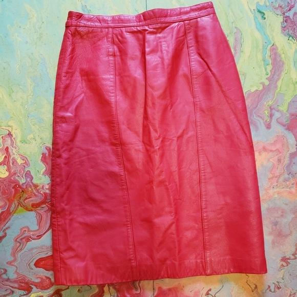 Pelle Pelle Dresses & Skirts - Pelle Red leather pencil skirt